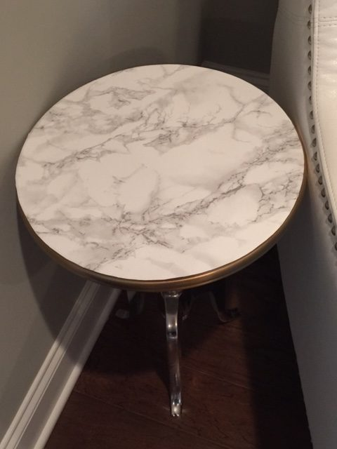 These Photos Of A Faux Marble Side Table Is Diy Project The Aluminum Was Purchased For 49 99 At Homegoods And Then Covered With Adhesive